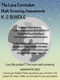 Math Diagnostic Screening Assessment - K-2 BUNDLE