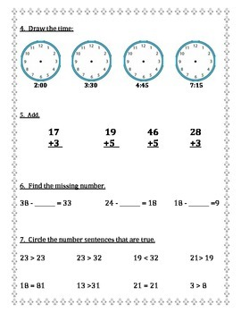 Math Diagnostic for First Grade