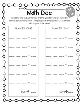 Math Dice Center FREEBIE, Addition/Subtraction Facts Practice