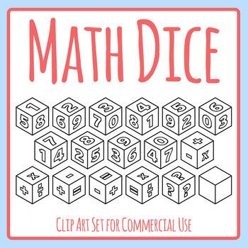 Math Dice Clip Art Set Commercial Use