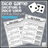 Math Dice Game Freebie - Roll & Solve Decimal Equations &