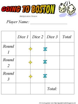 Math Dice Game - Going to Boston - Addition or Multiplication Review
