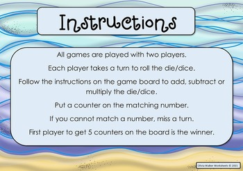 Math Board Games, Addition, Subtraction, Times Tables Math Centers, Dice Games,