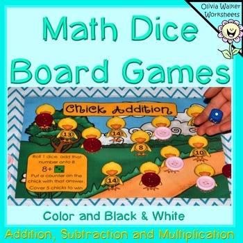 Math Board Games, Addition, Subtraction, Times Tables Math