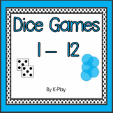 Counting and addition Math Dice Games 1-12