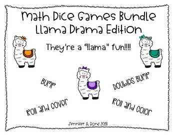 Math Dice Games EDITABLE Bundle - Llama Drama Edition