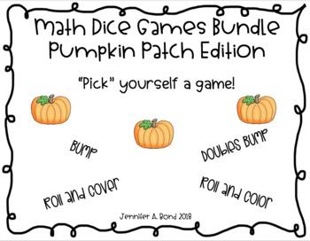 Math Dice Games Editable Bundle - Pumpkin Patch Edition
