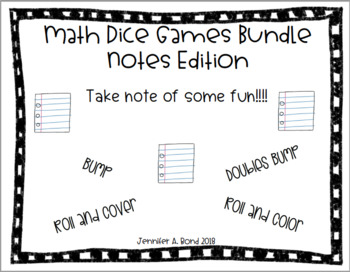 Math Dice Games Editable Bundle - Take Note Edition