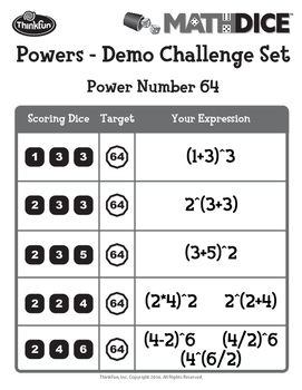 Math Dice Powers Demo Challenge Set PDF Printout File by ThinkFun