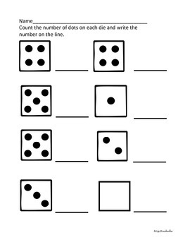 Math Dice Worksheets