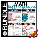 Math Differentiated Lessons BUNDLE ~ Time, Fractions, Mone
