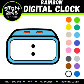 Math Digital Clock Rainbow Clip Art