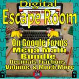 Digital Escape Rooms Mega Math Bundle-Test Prep Review on Google Forms