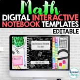 Math Digital Interactive Notebook Templates EDITABLE | Goo