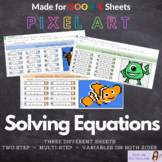 Math Digital Pixel Art Solving Equations - Two-Step, Multi-Step and VOBS