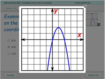 Math Digital Practice 0023 - Coordinates of vertex of a parabola