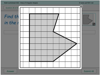 Math Digital Worksheet 002 - Area of irregular shapes