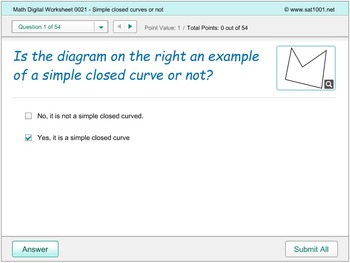Math Digital Worksheet 0021 - Simple closed curves or not
