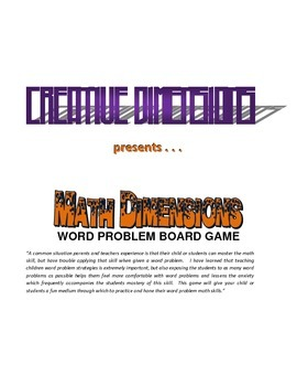 Math Dimensions Word Problem Board Game