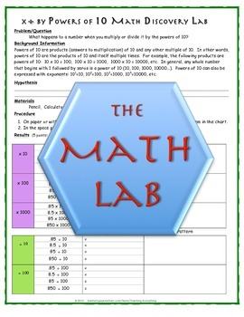 Math Discovery Labs: Powers of Ten (10) & Multiplying and Dividing by Tens (10s)