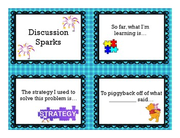 Math Discussion Sparks, Discussion Prompts