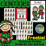 FREE Christmas Math Division Center Games Divide By Two and Four