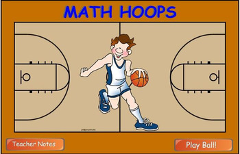 Math Division Hoop Shoot basketball Smart Board game 2 digits by 1 digit