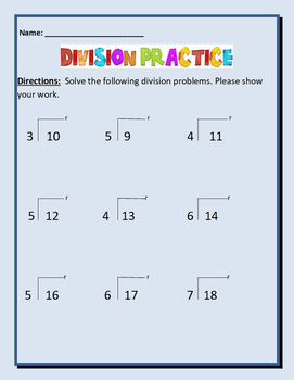 Math: Division Practice With Remainders. 6 pages of practice w/ template.