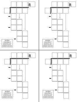 Math Division Problem Template 3 Digit Dividend (Four Sizes)