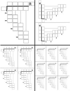 Math Division Problem Templates for 2, 3, 4 Digit Dividends-Different Sizes