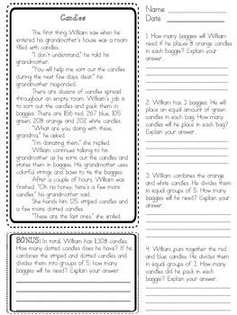 Math Division Word Problem Stories (Grades 3-6)