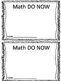 Math Do Now Sheet