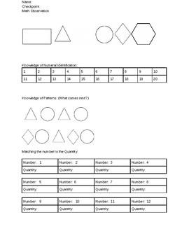 Math Documentation and Observation Form