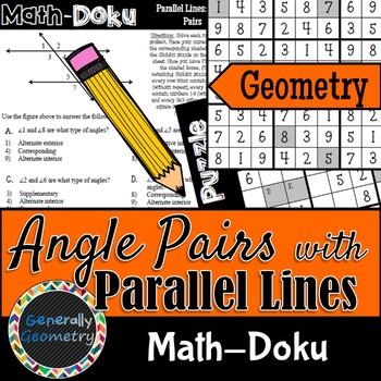 Math-Doku: Parallel Lines & Transversals Angle Relationships; Geometry, Sudoku