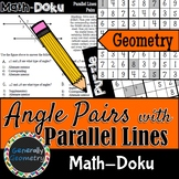 Math-Doku: Parallel Lines & Transversals Angle Relationships; Geometry, Sudoku
