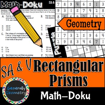 Surface Area & Volume Math-Doku; Rectangular Prisms, Geome