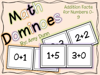 Math Dominoes: Addition Facts for Numbers 0-9