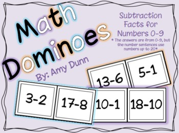 Math Dominoes: Subtraction Facts for Numbers 0-9