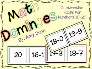 Math Dominoes: Subtraction Facts for Numbers 10-20