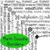 Math Doodle Borders Arithmetic Clip Art PNG JPG Blackline Commercial Personal