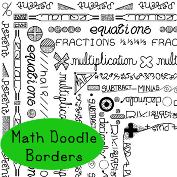 Math Doodle Borders Arithmetic Clip Art PNG JPG Blackline Commercial Personal