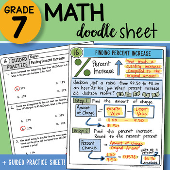 Math Doodle - Finding Percent Increase - Easy to Use Notes - with PowerPoint!