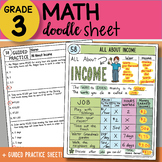 Math Doodle Sheet - All About Income - EASY to Use Notes w