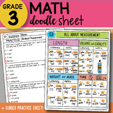 Math Doodle Sheet - All About Measurement - EASY to Use Notes with PowerPoint