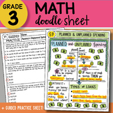Math Doodle Sheet - Planned & Unplanned Spending - EASY to