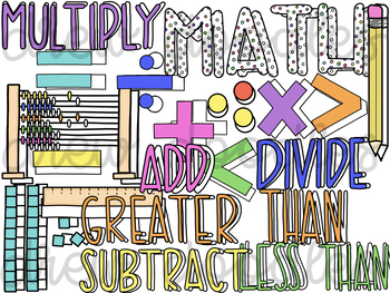Math Doodles Digital Clip Art Set- Color and Black Line COMBO