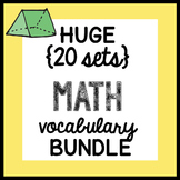 HUGE {all the VOCABULARY sheets} Math BUNDLE ALL YEAR + booklet