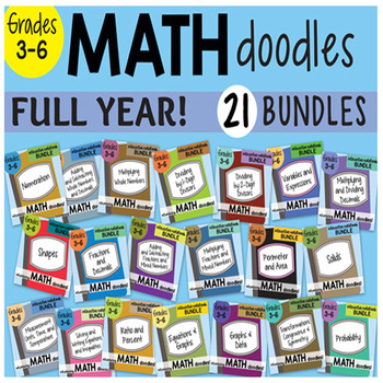 Math Doodles ALL in ONE Interactive Notebook ALL YEAR SET