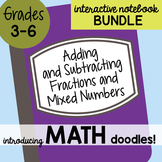 Math Doodles INB Bundle 10 - Adding & Subtracting Fractions