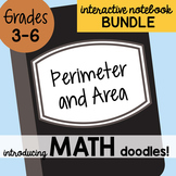 Doodle Notes - Math Interactive Notebook Bundle 12 - Perimeter and Area